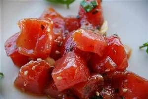 Ahi Poke Salad.  Please ask for sashimi grade tuna!  I would recommend a pound of tuna cut into small chunks.  And feel free to use kosher salt instead of rock salt.