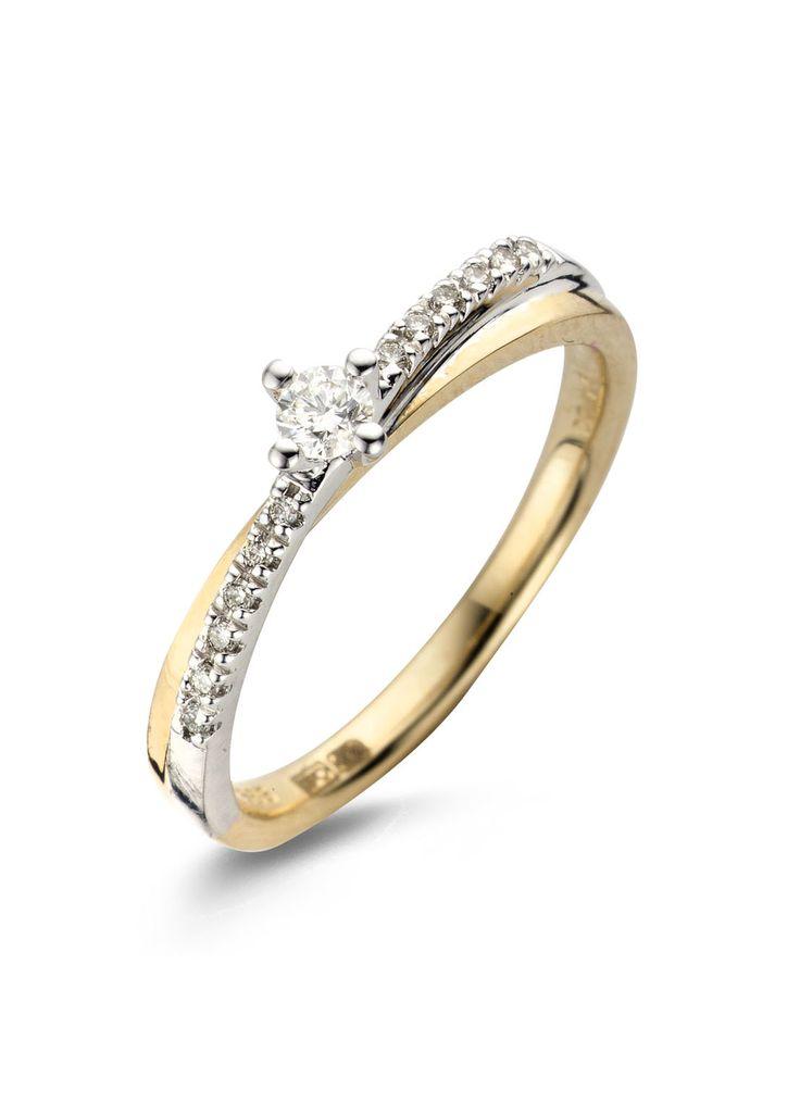 Gouden solitair ring - vervaardigd uit 14 karaat witgoud en geelgoud en is gezet met een aquamarijn en 14 briljant geslepen diamanten - Diamond Point
