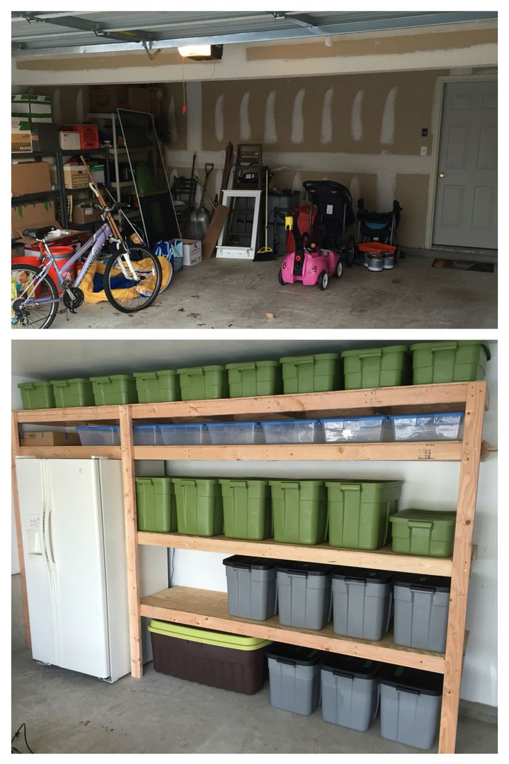 Open shelving in a garage is a great storage solution for big tubs filled with…