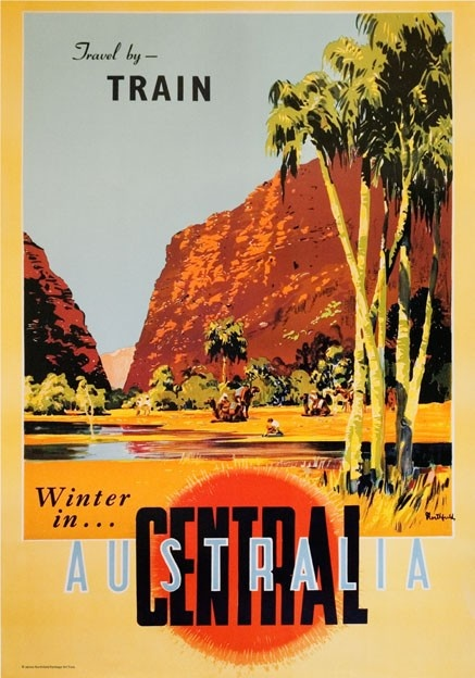 Winter in Central Australia. Vintage Travel Poster by James Northfield