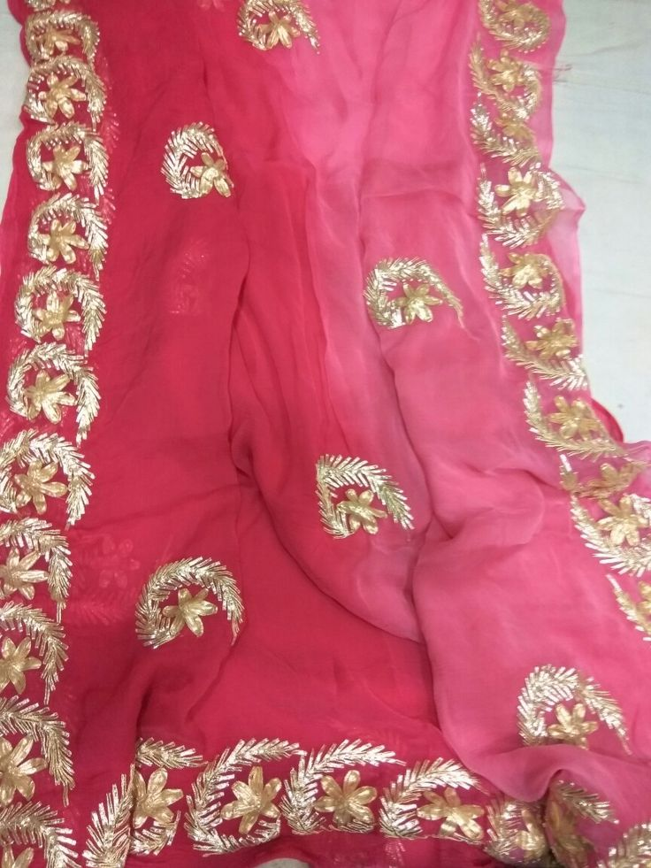 40.40 chiffon saree made by gota patti work