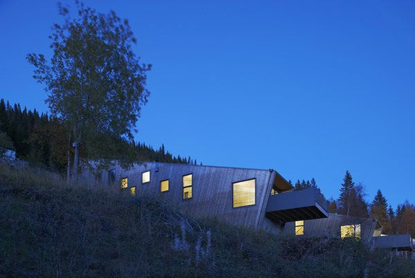 Architectural, View Of The Steep Slove House In The Night Arounding Green Grass And Green Tree: Cool Three Identical Homes Taking Advantage ...