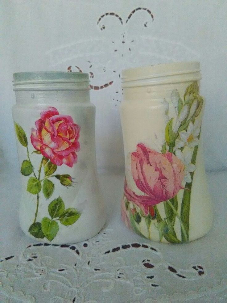 Decoupage Glass Jars Hand painted Glass Jars Decoupage