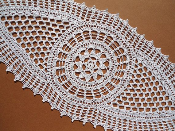 Tapetes de encaje de tapete blanco ganchillo oval centro de