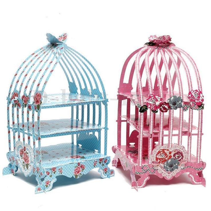 Birdcage cupcake cardboard cake stand vintage wedding tea