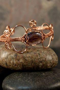 Dragon Vein Agate Wire Woven Copper Bracelet - Simply Unique Jewelry - 1