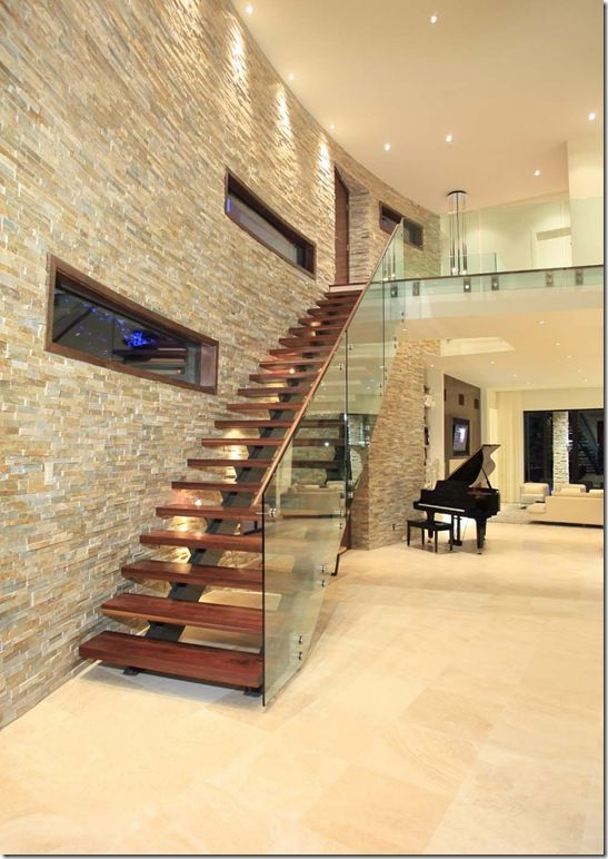 Magnetic Interior Walls Designed with Stones : Minimalist Front Room Design  With Wooden Floor Decoration And