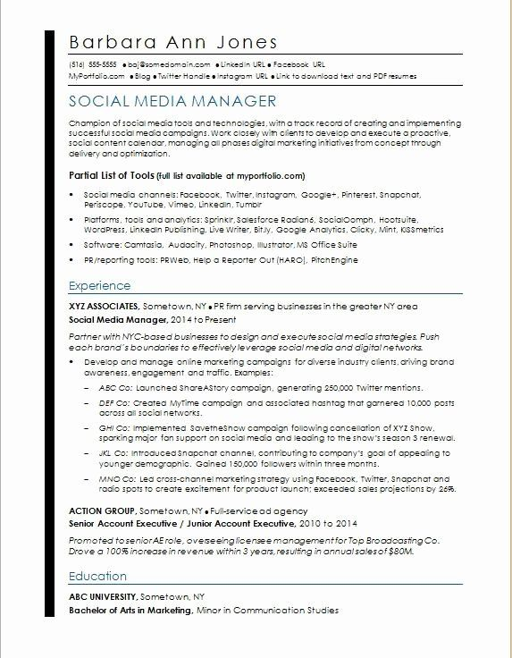 Social Media Manager Resumes Luxury Social Media Resume Sample Marketing Resume Medical Assistant Resume Resume Cover Letter Template