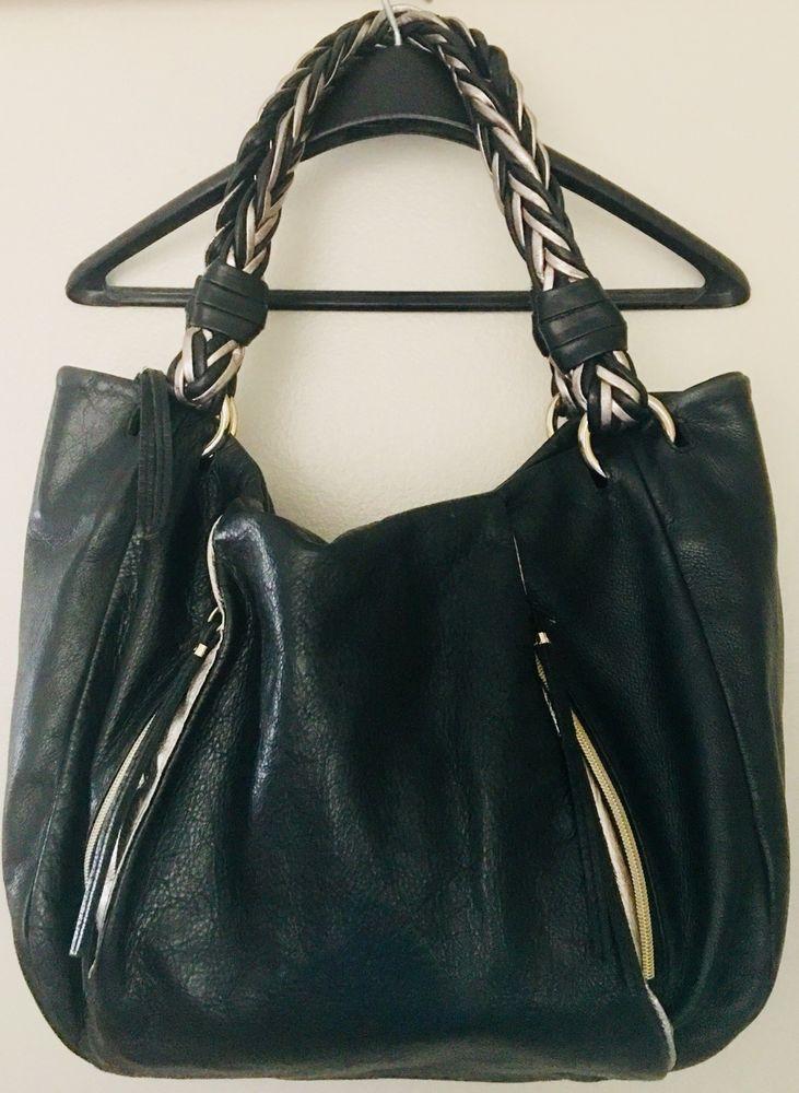 Elliott Lucca Black Leather Shoulder Hobo Satchel Slouch Purse Bag Braided   439a6dec6c743
