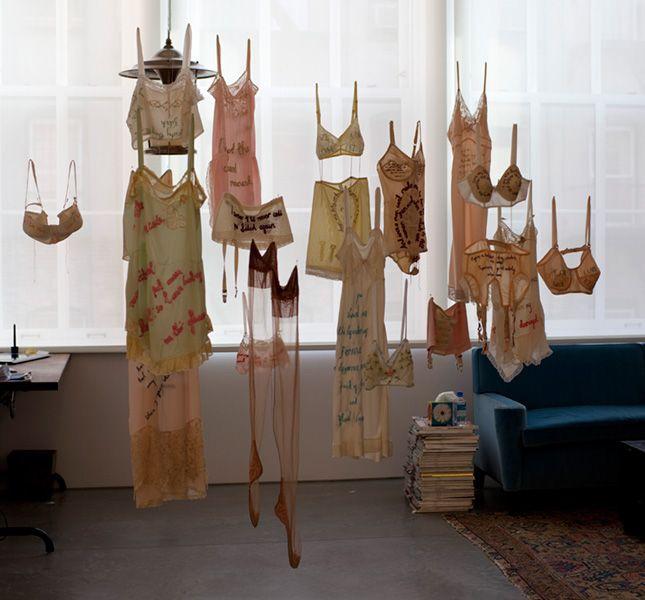 "Zoë Buckman ~ ""Every Curve"" Embroidery series on vintage lingerie | Feminism + Hip-hop lyrics *Work in Progress 2014* via zoebuckman.com"