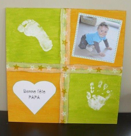 Idées Inspiration fête de mère 2019 : Tableau « empreintes pied et main » pour la fête des papas