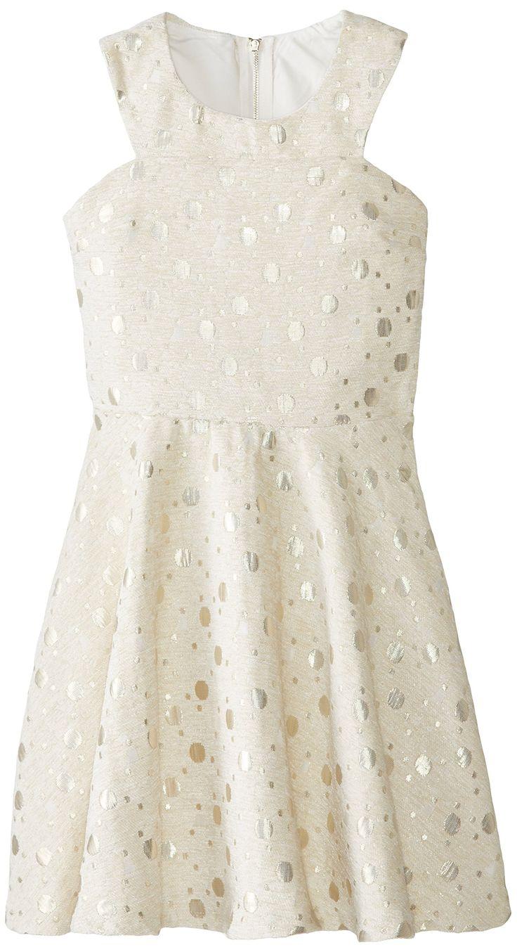 Miss Behave Big Girls' Emily Dot Dress, White, Large