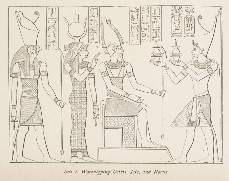 "Seti_I._Worshipping_Osiris,_Isis,_and_Horus._(1884)_-_TIMEA.jpg (1024×809) ~The Trinity was developed in Egypt and Babylon as was the use of the cross in worship, and later spread to ""Christendom""."