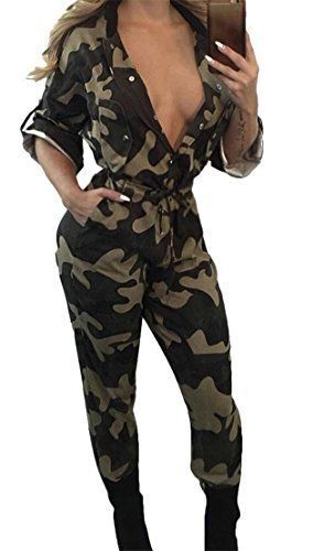 06acc51a75a5 Gnao Women Casual Tie Camo Print Buttons Pockets Long Romper Jumpsuits  Camouflage M -- Click for Special Deals
