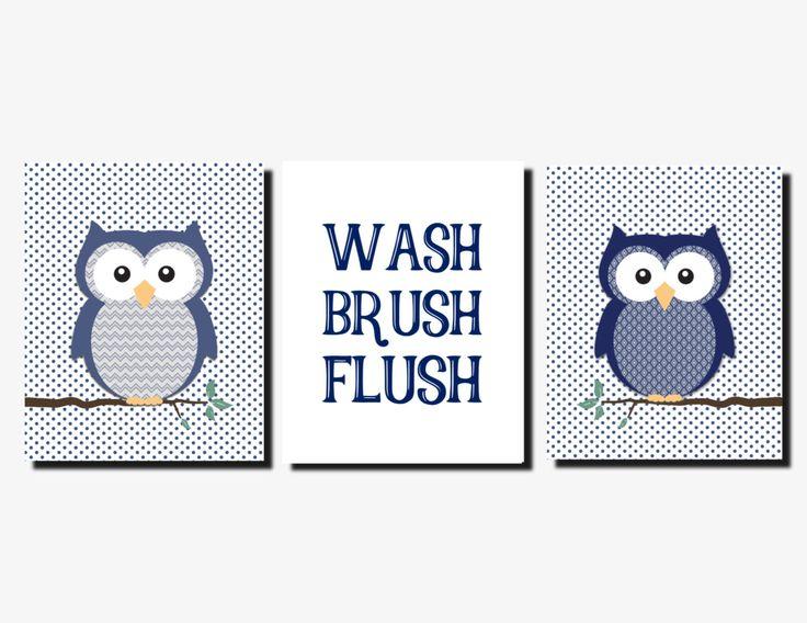 Kids Bathroom, Navy Blue Gray Bathroom, Owl Bathroom Decor, Wash Brush Flush, Bathroom Rules, Boy Bathroom, Prints or Canvas, Set of 3 by vtdesigns on Etsy