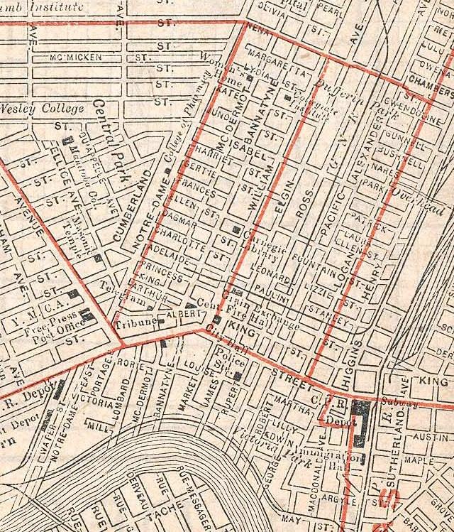 Map of Winnipeg from 1908