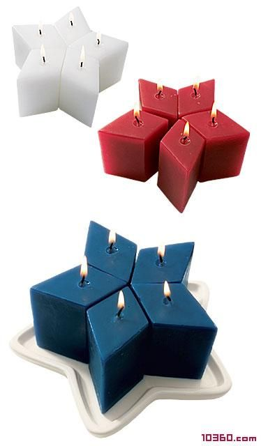 Red, white and blue diamond-shaped candles