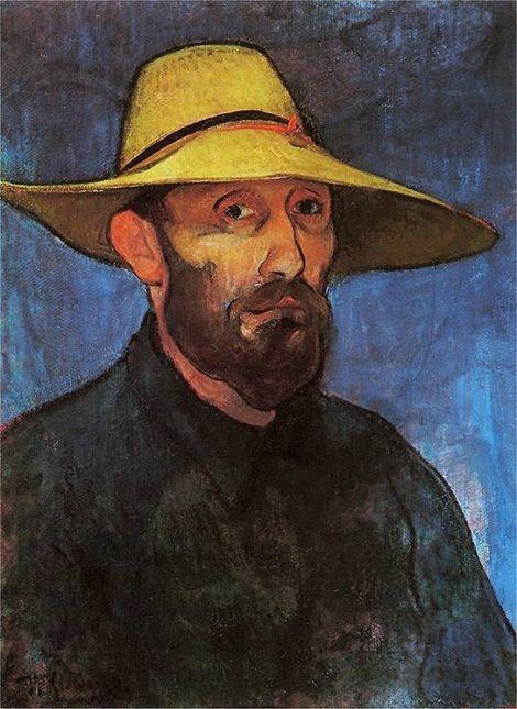 Wladyslaw Slewinski, Self-portrait in a straw hat / Autoportret w słomkowym kapeluszu on ArtStack #wladyslaw-slewinski #art