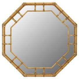 """Bring a touch of the tropics to your home with this rattan wall mirror, featuring an octagonal silhouette and leather-wrapped joinery. J&M ($254)    Product: Wall mirror  Construction Material: Rattan, leather and mirrored glass  Color: Nutmeg frame   Features:  Octagonal silhouetteLeather-wrapped joinery Dimensions: 36"""" H x 36"""" W x 1.75"""" D  Cleaning and Care: Wipe with damp soft cloth in light soap"""