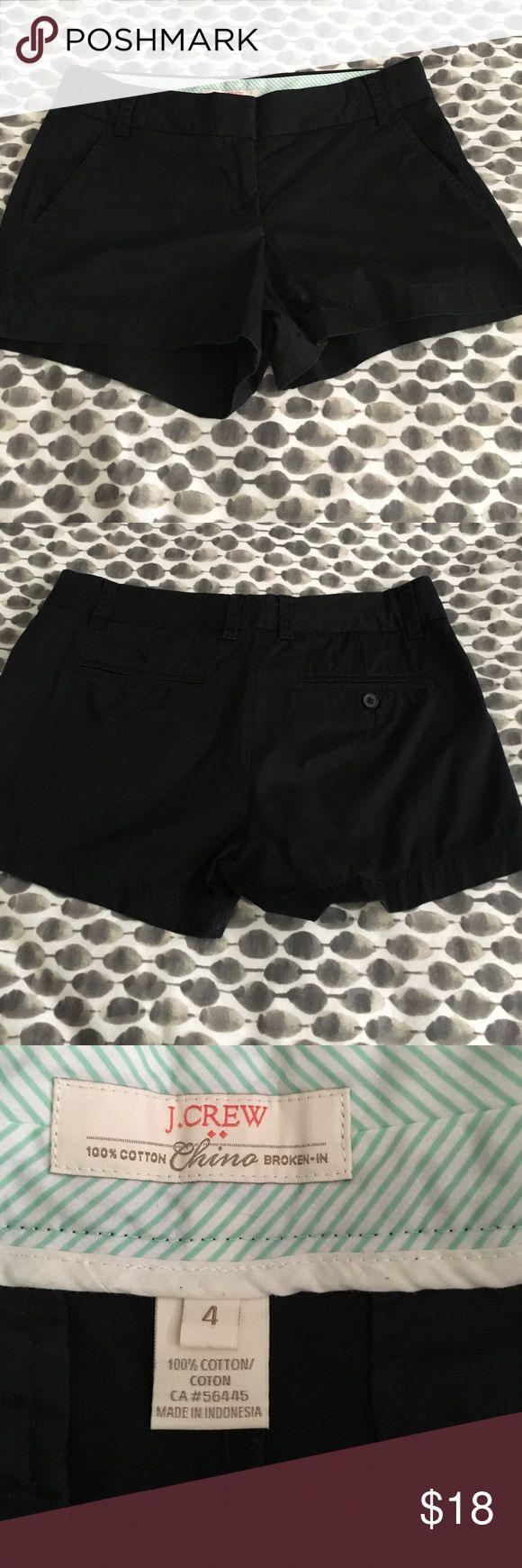 "J. Crew Factory Black Chino Shorts Black Chino Shorts from J. Crew Factory. Size 4. Great used condition. I haven't worn these much so they've only been washed a handful of times and the color is still pretty black. 3"" inseam. J.Crew Factory Shorts"