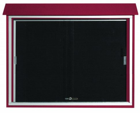 PLDS3645L-7. Rosewood Sliding Door Plastic Lumber Message Center with Letter Board. 36″ High x 45″ Wide