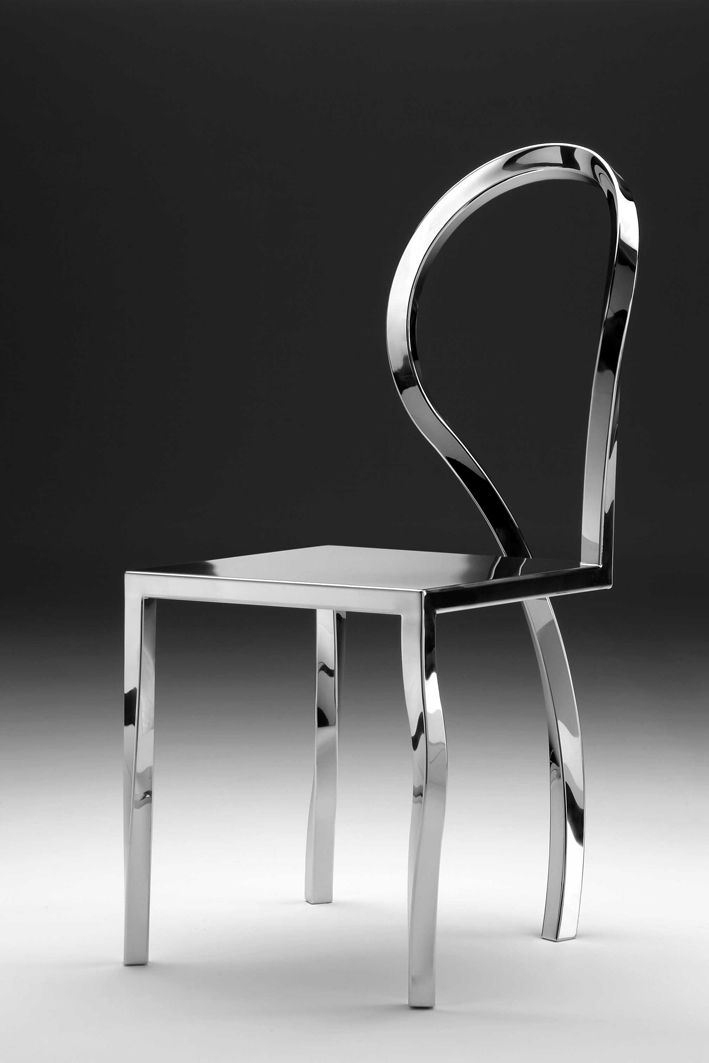 ANOMALIE Collection design Gio Minelli Collection made of polished stainless steel, handmade. Chair dimensions: 42x42xh80 cm