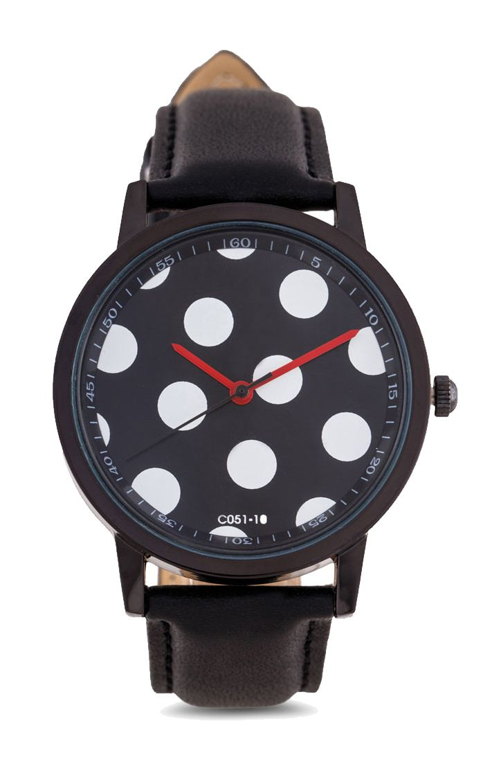 Polkadots Face Watch by Something Borrowed. Analog watch with black strap and polka dot pattern, round case that made from metal alloy case, strap length 25 cm, cute watch with a polka dot pattern will suit your outfit well.   http://www.zocko.com/z/JG9mL
