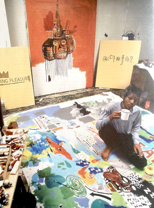 芸術家のアトリエ。ジャン=ミシェル・パスキアのアトリエ、いるだけでアイデアが浮かんできそう