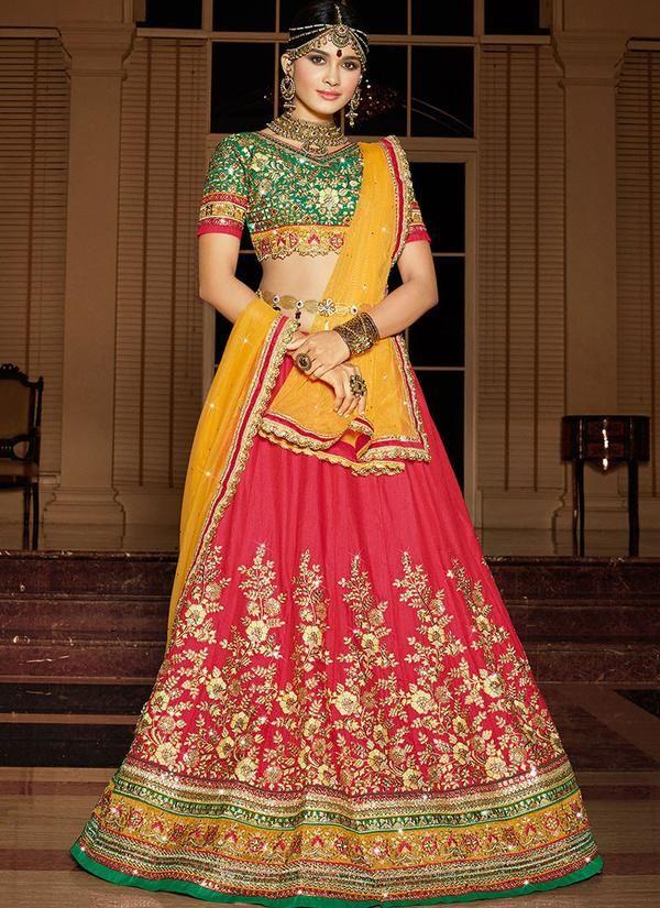 Art Silk Wedding Lehenga in Red