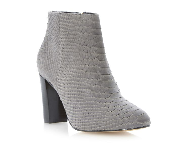 DUNE | NEXTDOOR - Leather Block Heel Dressy Ankle Boot - grey reptile | leather upper, fabric lining, synthetic sole | heel height: 8cm | £129