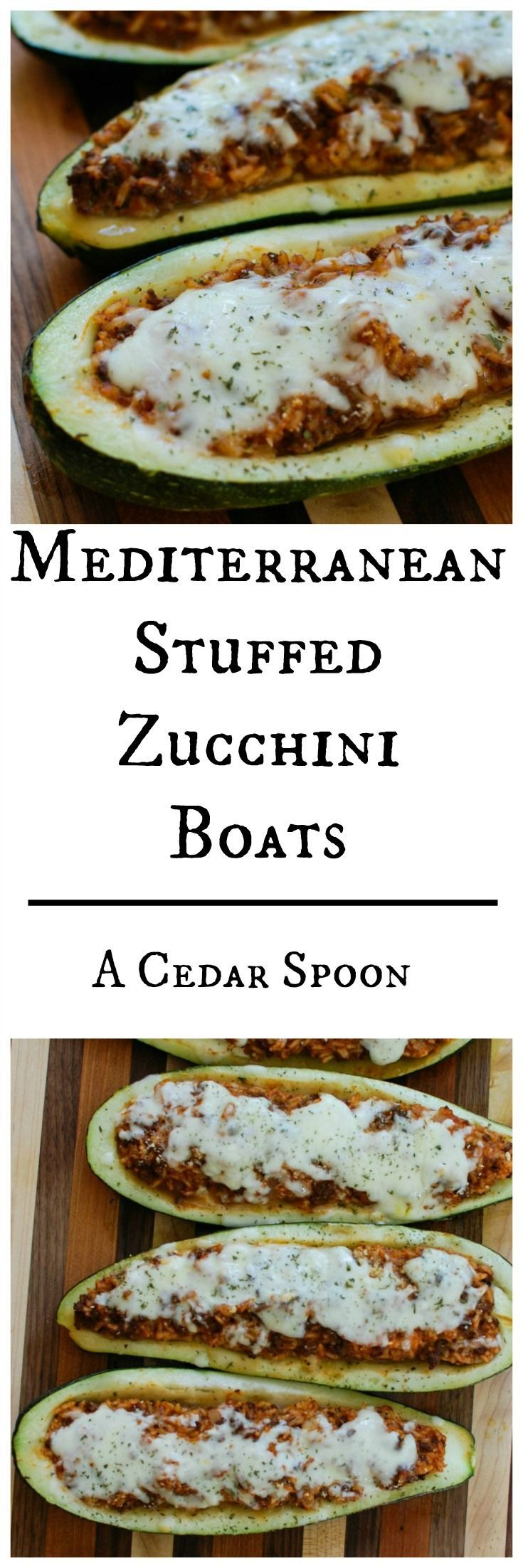 Mediterranean Zucchini Boats take summer zucchini and stuff them with a mixture of ground beef and lamb, rice, tomato sauce, cumin, cinnamon and are topped with cheese and fresh parsley. If you have an abundance of garden zucchini this is the perfect way to use them up! // A Cedar Spoon