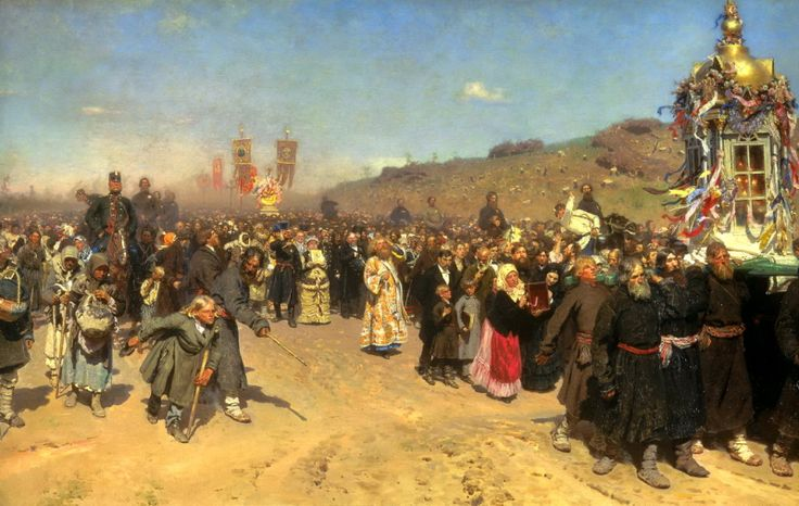 Ilya Repin - Religious Procession in Kursk Province. 200 Russian painters • download painting • Gallerix.ru