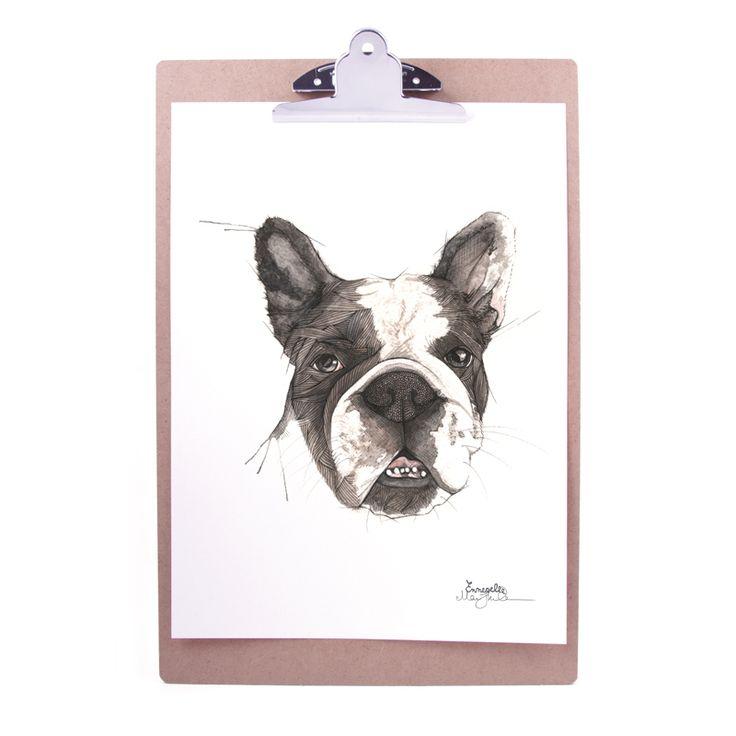 """""""Fransk bulldog"""" (French bulldog) Copyright: Emmeselle.no Illustration by Mona Stenseth Larsen"""