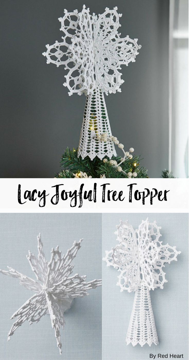 Lacy Joyful Tree Topper free crochet pattern in Aunt Lydia's Crochet Thread.