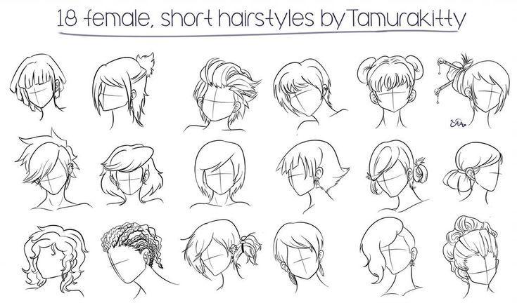 Hairstyles Drawing Reference Female Manga Hair Female Anime Hairstyles Short Hair Drawing