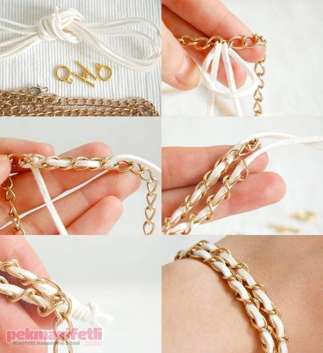 Zincirli bileklik nasıl yapılır? | Takı Tasarım | Pek Marifetli!: Diy Ideas, Diy Crafts, Diy Accessories, Diy Bracelets, Feelings Crafty, Beads Jewelry, Beautiful Diy, Easy Diy, Crafty Ideas