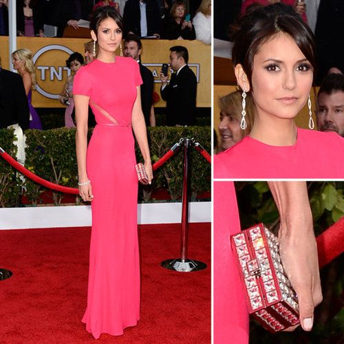 Like Lea Michele, our favorite Vampire Diaries starlet, Nina Dobrev, was also feeling pretty in pink tonight.