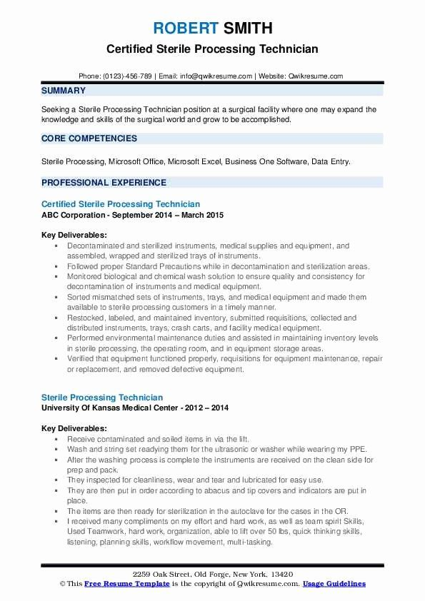 Surgical Technician Resume Examples New Sterile Processing Technician Resume Samples In 2020 Resume Cover Letter Examples Good Resume Examples Resume Examples