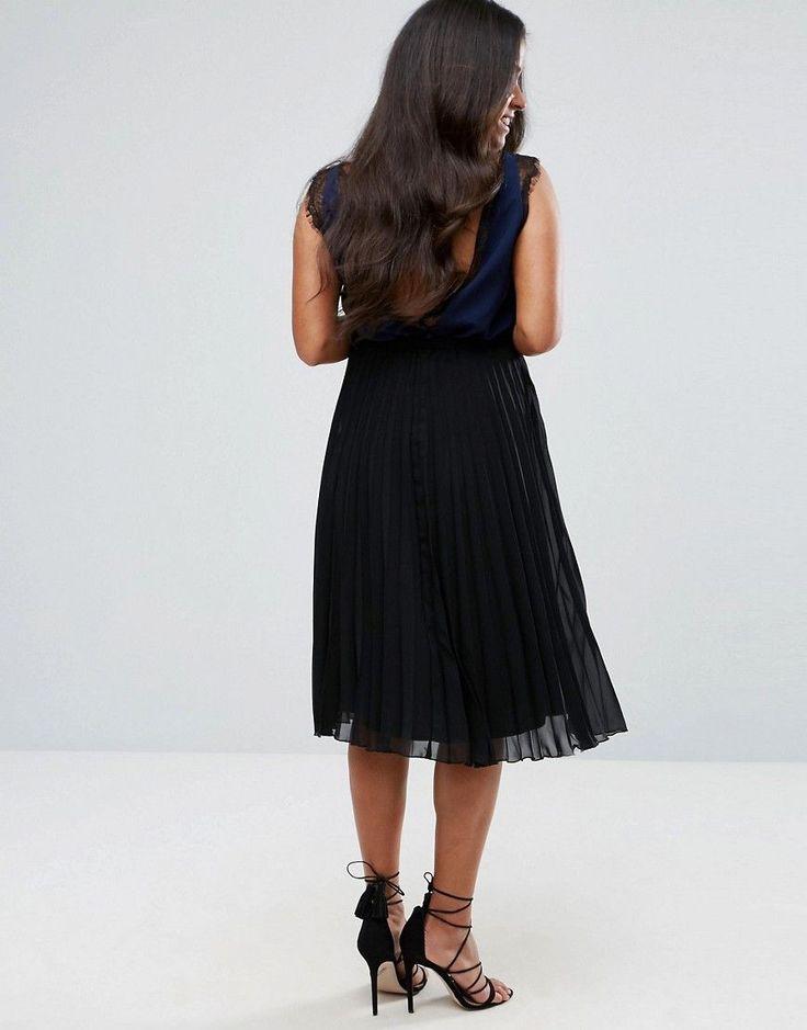 ASOS Maternity Over The Bump Pleated Midi Skirt - Black