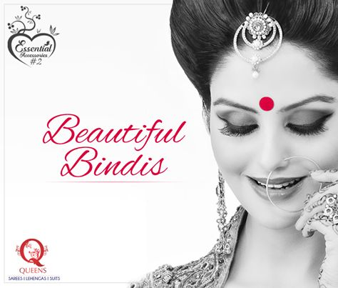 The choice of bindi should depend on your face structure. If your face is long, a round bindi would look good. If you have a square or round face, go for a long bindi.  #QueensEmporium #Sarees #EssentialAccessories