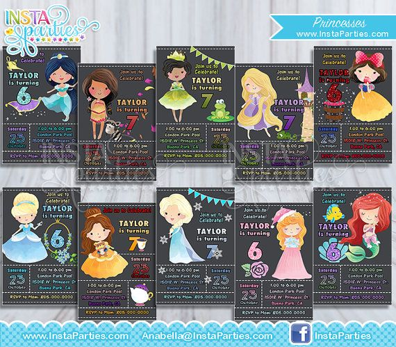 Princess Party Invitation / Princesses Party invitations ideas supplies idea by InstaParties chalkboard cute cutest ever unique watercolor Belle Aurora Snow white Jasmin Pocahontas Tiana Rapunzel tangled Cinderella Elsa mermaid www.InstaParties.com etsy instagram pinterest insta parties birthday party $9.99