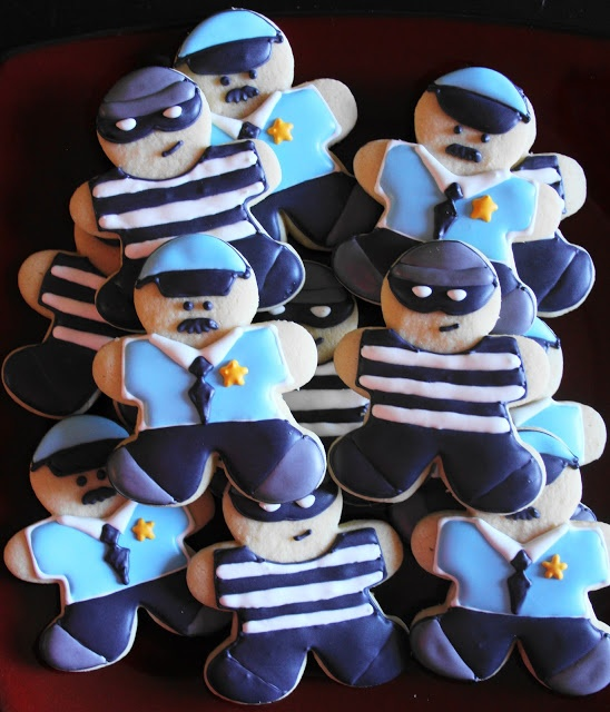 Cops and Robbers Gingerbread Men- great recipe for sugar cookies and royal icing