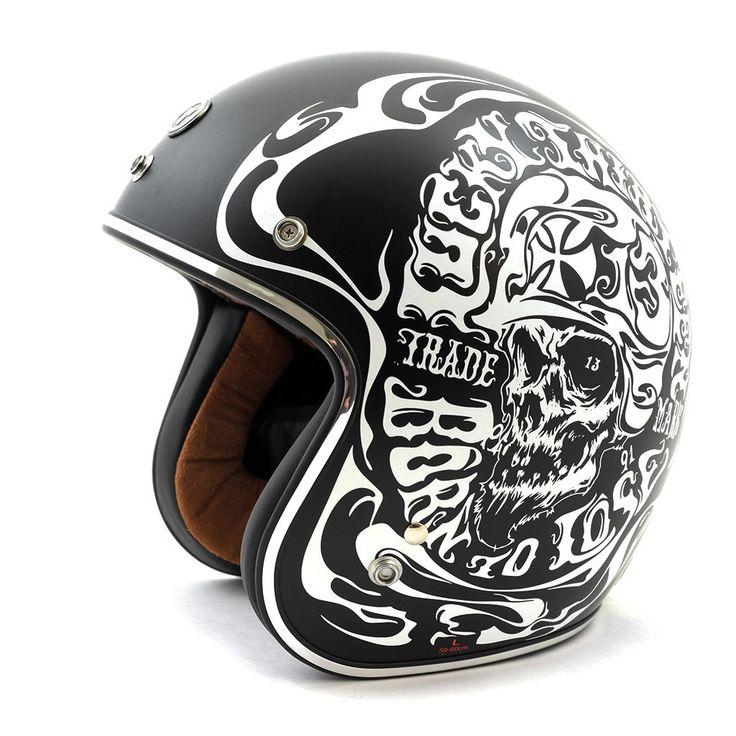 """Torc Route 66 T50 """"Smoke Skull Lucky 13"""" Flat Black Open Face Helmet"""