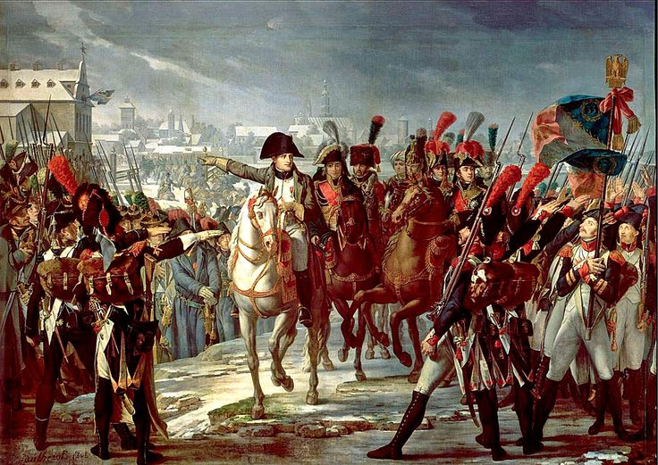 Napoleon haranguing his troops on the Bridge of the Lech at Augsburg, 1805, Claude Gautherot