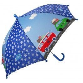 paraplu Lief! met auto's en sterretjes.
