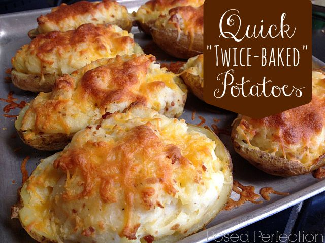 """These Quick """"Twice-Baked"""" Potatoes start off in the microwave for a super fast side dish."""