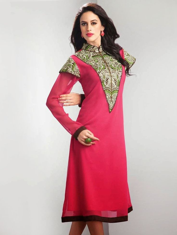 Here's a perfect pick for the woman who dares to wear bold pink colors, this georgette party wear designer kurti prettified with fancy embroidery work. #Readymadkurti #Designerkurti #Partywearkurti, #Kurti
