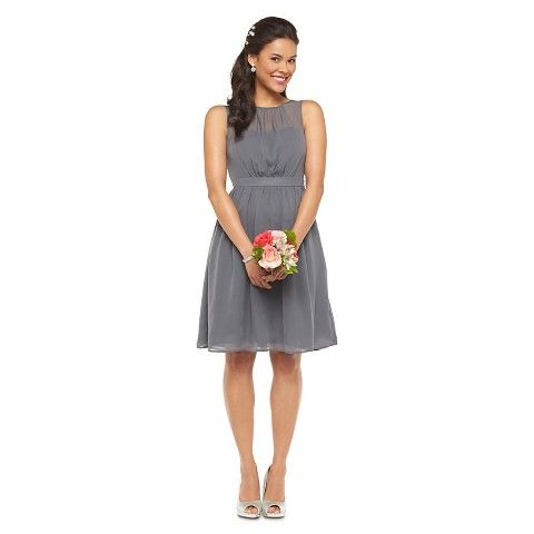 Women's Chiffon Illusion Sleeveless Bridesmaid Dress Fashion Colors - TEVOLIO | I know this isn't the halter we all liked but this is a good neckline too and with the illusion.