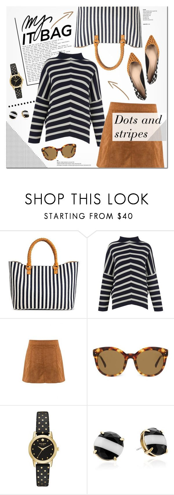 """""""Tote bags: Dots and Stripes"""" by anna-anica ❤ liked on Polyvore featuring Target, Whistles, Lancôme, Linda Farrow, Kate Spade, women's clothing, women's fashion, women, female and woman"""