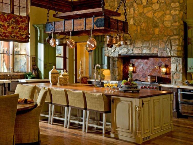 Kitchen: Big Rustic Island And Pot Rack In Mediterranean Kitchen. Old Style  Kitchen Island.